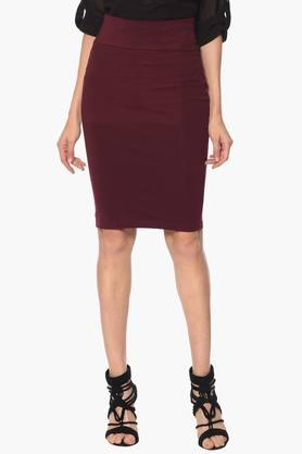 PURYS Womens Solid Knee Length Skirt