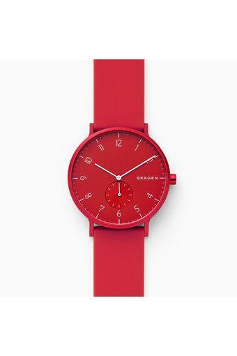 Unisex Aaren Kulor Red Dial Silicone Analogue Watch - SKW6512