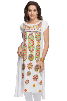 IMARA Womens Printed High-low Kurta