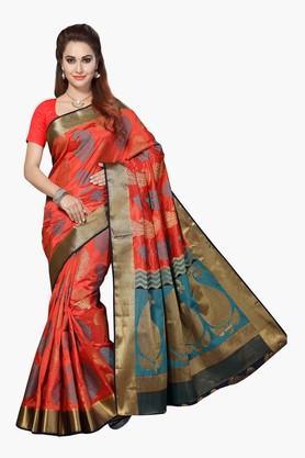 ISHINWomens Poly Silk Brocade Saree - 201628856