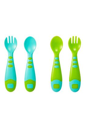 Boys Colour Block Easy Grip Spoon And Fork Set of 4