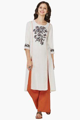 GLOBAL DESI Womens Round Neck Printed Kurta - 202452195