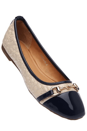 TRESMODE Womens Blue Beige Quilted Ballerina Shoe