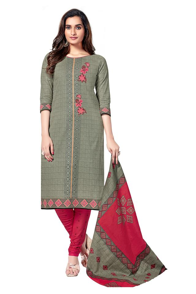 Womens Checked Salwar Suit Dress Material with Dupatta