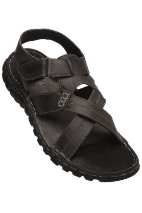 RED TAPE Mens Black Leather Sandal