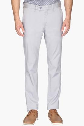 INDIAN TERRAIN Mens 4 Pocket Slim Fit Solid Trousers (Brooklyn Fit)
