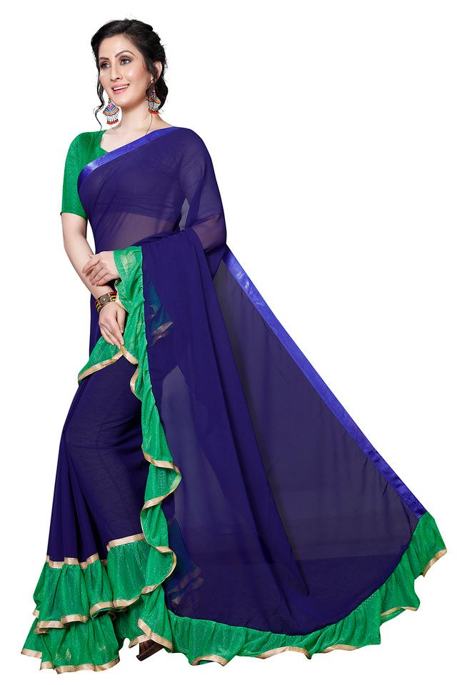 Womens Solid Ruffle Saree with Blouse Piece