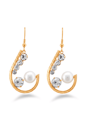 JAZZ Ethnic Golden Earrings With White Stone And Pearls