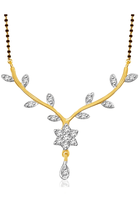 SPARKLES 18Kt Gold Mangalsutra With Diamond Pendant Along With Gold Plated Silver Chain And Black