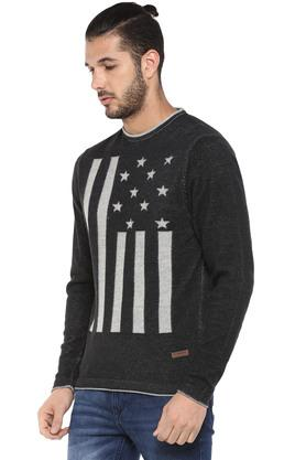 Mens Round Neck Printed Knitted Sweater