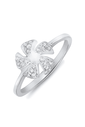 MAHI Mahi Rhodium Plated Five-Petal Ring With CZ Stones For Women FR1100090R