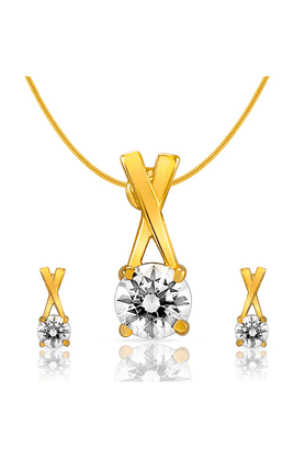 MAHI Mahi Gold Plated Ecstatic Solitaire Pendant Set With Swarovski Zirconia For Women NL1105001G