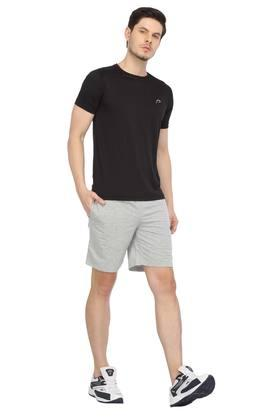 Mens Round Neck Self Printed Sports T-Shirt