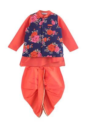 Boys Mandarin Collar Printed Kurta Dhoti and Jacket Set