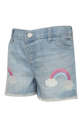 Girls 4 Pocket Mild Wash Embroidered Shorts