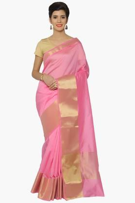 JASHN Women Chanderi Saree With Zari Border - 202378699