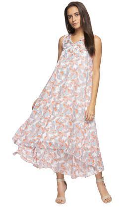 Womens V Neck Printed Embellished Layered Maxi Dress