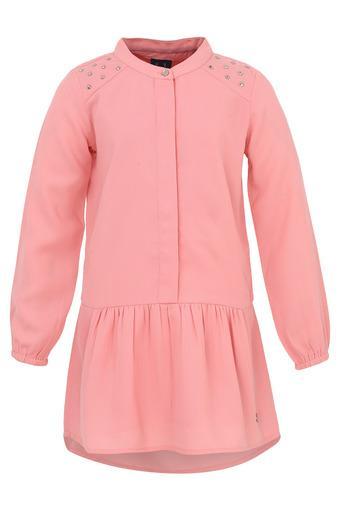 Girls Mandarin Collar Solid Pinafore Dress