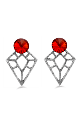 JAZZ Traditional & Antique Design Red Stone Partywear Earrings