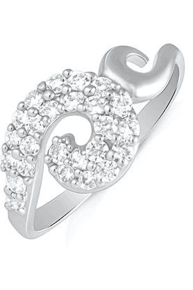 MAHI Mahi Rhodium Plated Unique Curve Finger Ring With CZ For Women FR1100500R