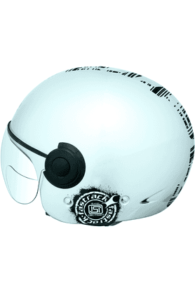 FASTRACK Half Face With Visor Motorsports Helmet For Men - L (Silver) - HB01SL08