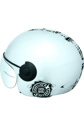 FASTRACKHalf Face With Visor Motorsports Helmet For Men - L (Silver) - HB01SL08