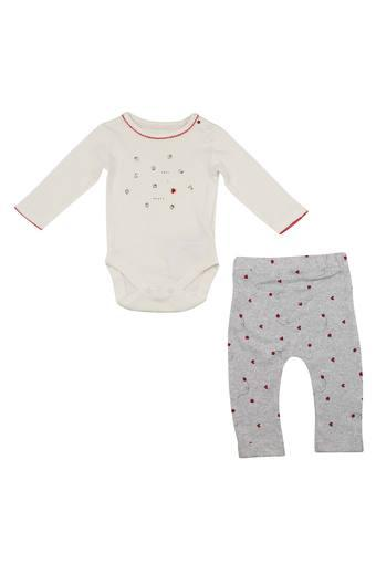 Unisex Round Neck Printed Babysuit and Pants Set