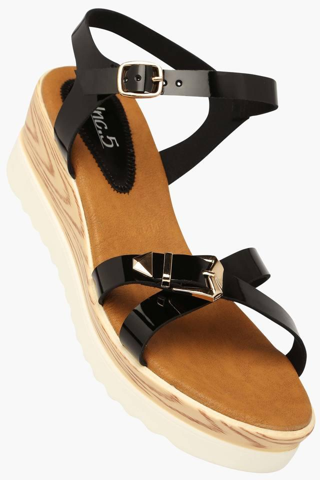 Womens Casual Ankle Buckle Closure Wedge Sandal