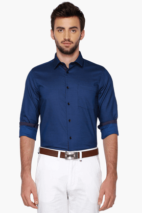 Mens Full Sleeves Slim Fit Party Solid Shirt