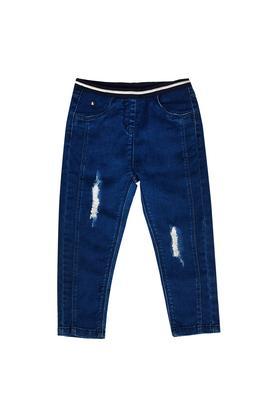Girls 4 Pocket Rinse Wash Distressed Jeggings