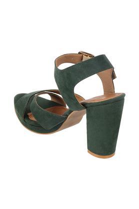 Womens Casual Wear Cross Strap Buckle Closure Block Heels