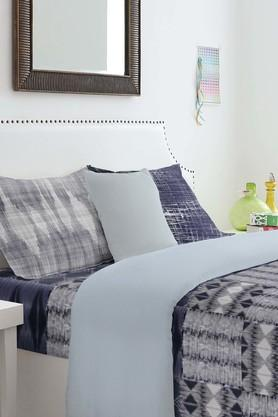SPACESYouthopia Dark Blue 180 TC Cotton King Bed Sheet With 2 Pillow Covers