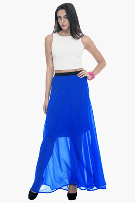 FABALLEY Womens Elasticised Maxi Skirt - 201559989