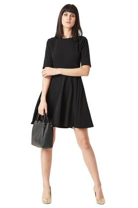 Womens Round Neck Back Cut Out Solid Button Detailing Skater Dress