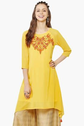 GLOBAL DESI Womens Embroidered Tunic