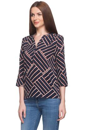 Womens Mandarin Collar Printed Top