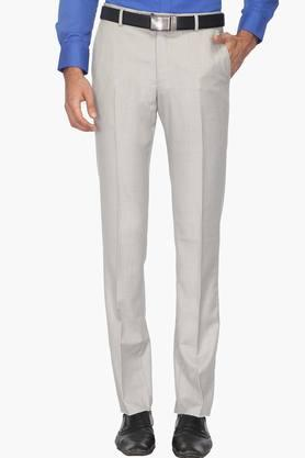 LOUIS PHILIPPE Mens 4 Pocket Slub Regular Fit Formal Trousers