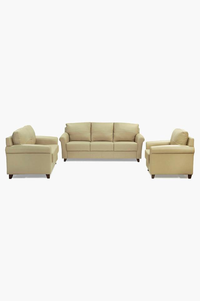 Brunette Ivory Leatherette Sofa (3-2-1 Sofa Set)