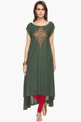 RS BY ROCKY STAR Womens High-low Embroidered Kurta