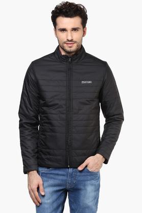 STATUS QUOMens Zip Through Neck Solid Quilted Jacket