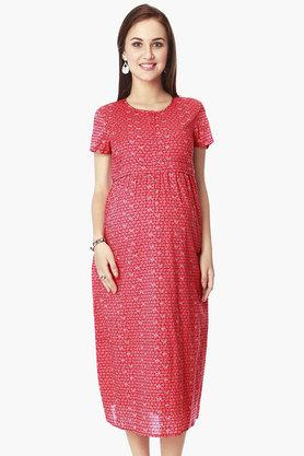 NINE MATERNITY Maternity Nursing Dress In Geometric