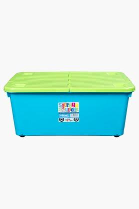 WHATMORE Portable Storage Box With Foldable Lid And Wheels - 45 Lts
