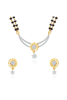MAHI Mahi Gold Plated Enchant Gleam Mangalsutra Set With CZ For Women NL1101553G2
