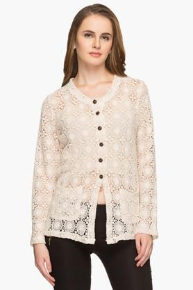 APSLEY Womens Round Neck Crochet Solid Cardigan