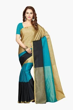 ISHIN Women Poly Cotton Zari Border Saree - 202528598