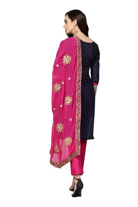 Womens Unstitched Round Neck Printed Pants Suit