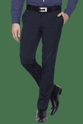 BLACKBERRYSMens Flat Front Slim Fit Solid Formal Trousers