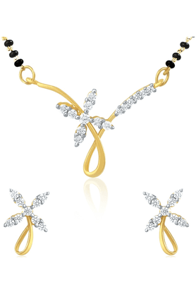 MAHI Gold Plated Mangalsutra Pendant Set With CZ For Women NL1101430G