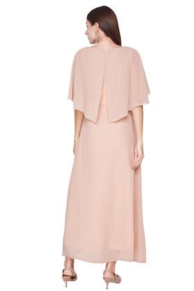 Womens Round Neck Solid Embellished Gown