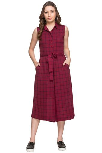 Womens Checked Jumpsuit